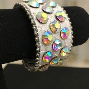 Leather white wrap Rhinestone bracelet